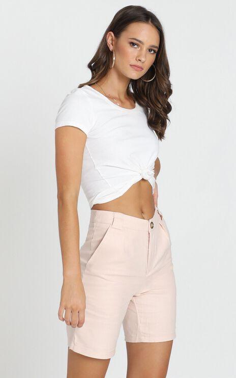 Nemi Linen Shorts in Pale Pink