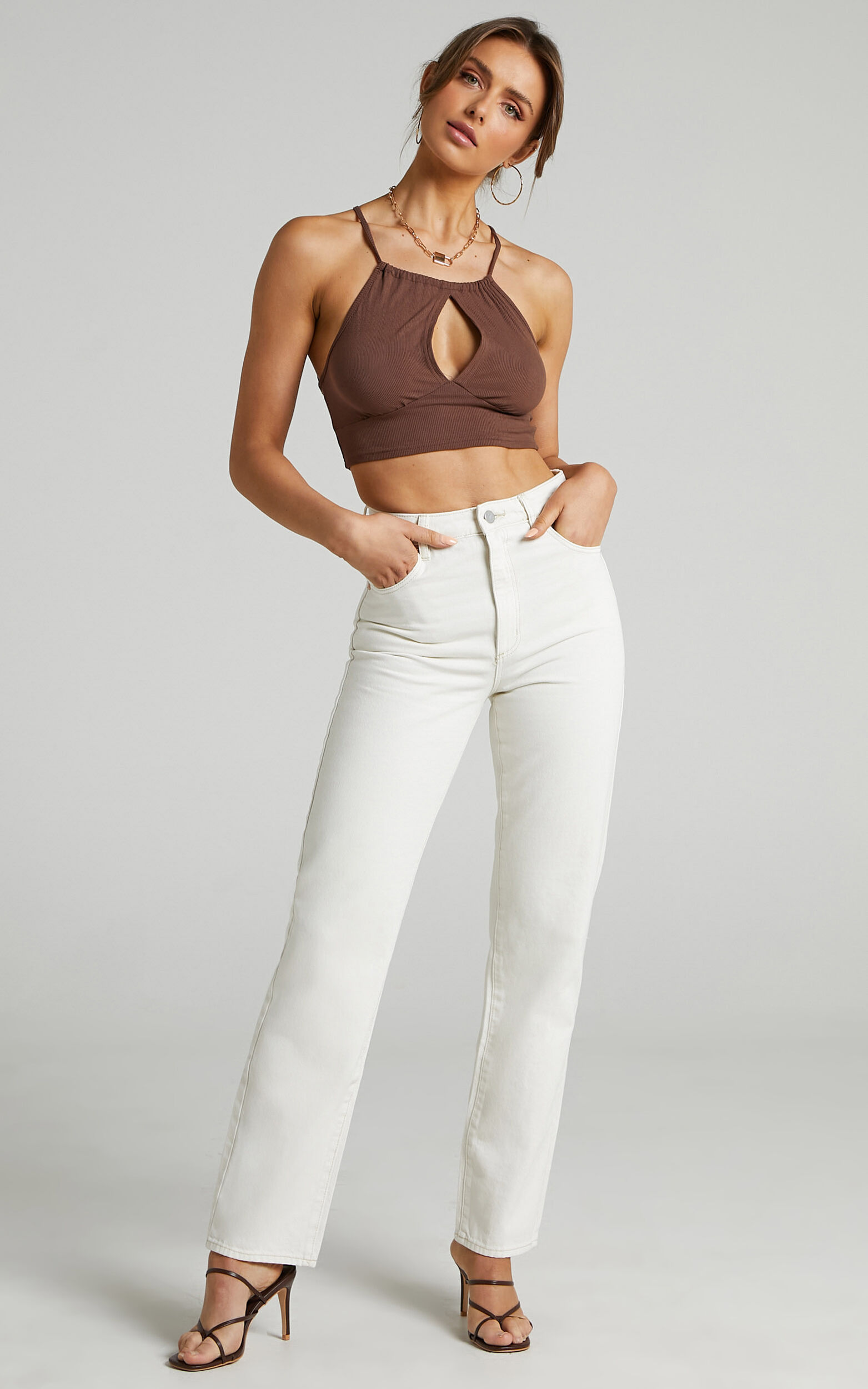 Abrand - A 94 High Straight Jean in Stone White - 06, WHT1, super-hi-res image number null