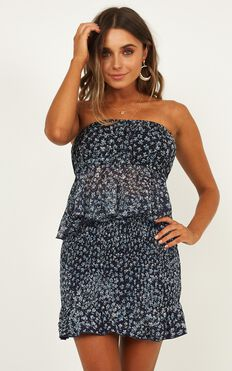 After Five Two Piece Set In Navy Floral
