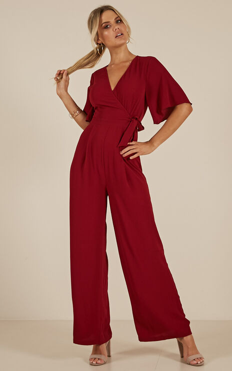 In Your Prime Jumpsuit In Wine