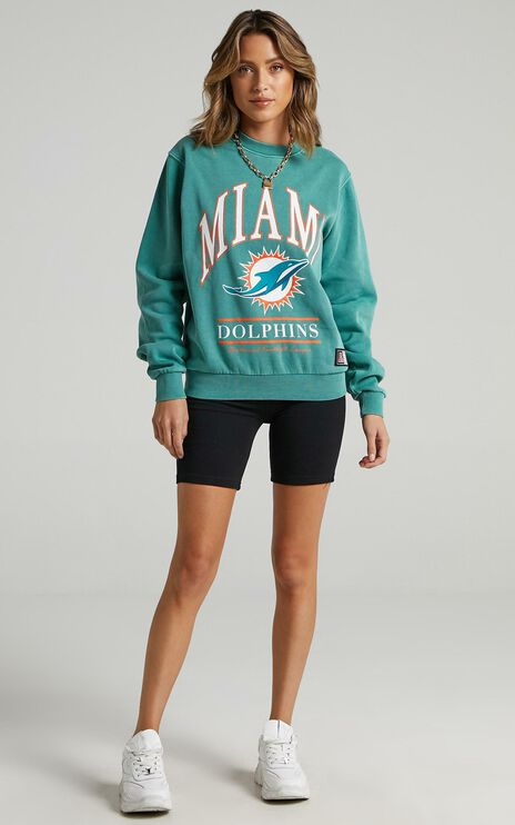 Majestic - WMS Vintage NFL Arch Crew Dolphin in Teal