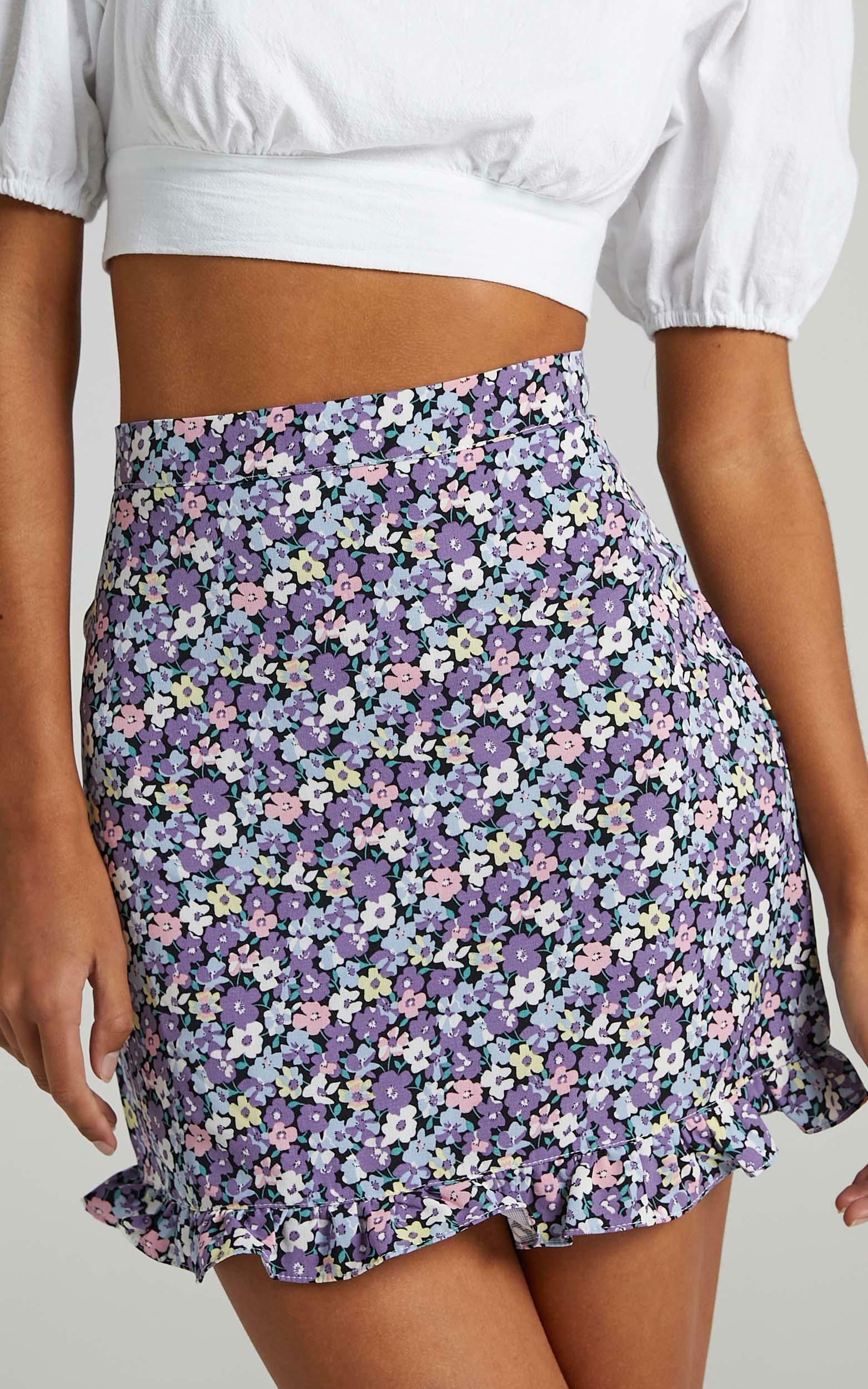Bellissima Skirt in Purple Floral - 12 (L), Purple, super-hi-res image number null
