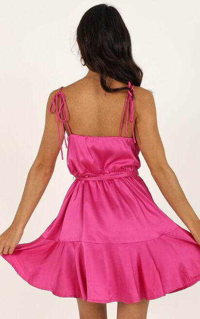 Like You Never Know Dress in hot pink satin - 14 (XL), Pink, hi-res image number null