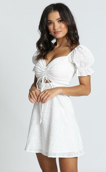 Soft Mention Puff Sleeve Mini Dress in White Floral