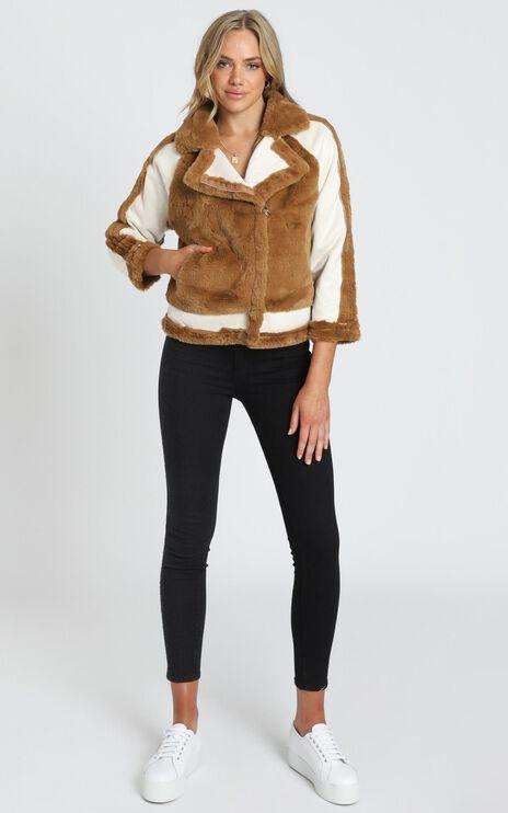 Layering Love Faux Fur Panel Jacket in Tan