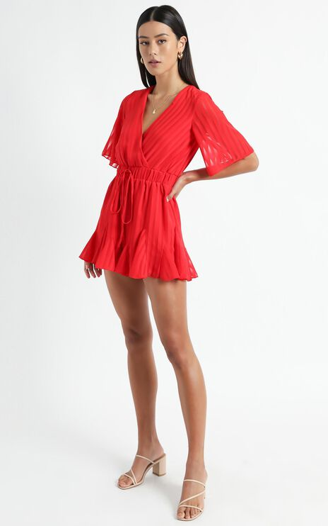 Play On My Heart Playsuit In Red