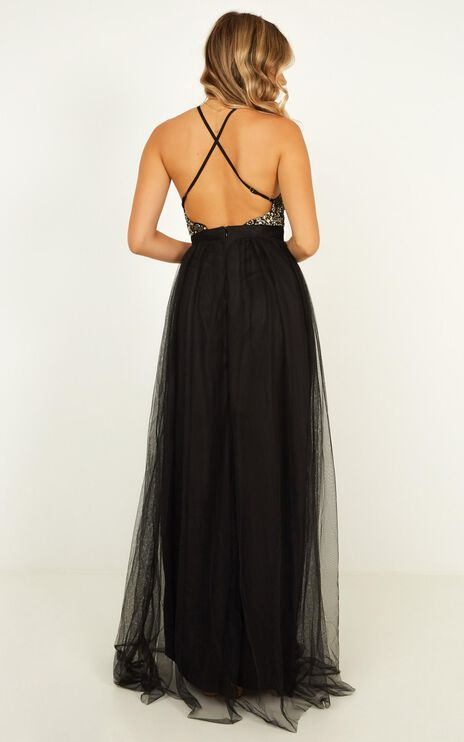 Vision Of Beauty Maxi Dress In Black Glitter