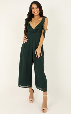 Youre Finally Home Jumpsuit In Emerald