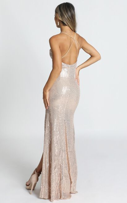 Sequin Glory Maxi Dress In Gold Sequin - 18 (XXXL), Gold, hi-res image number null