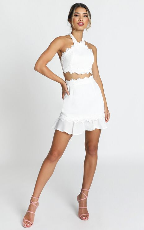 All Outta Love Two Piece Set In White