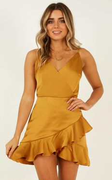 Cloud Cover Dress In Mustard Satin
