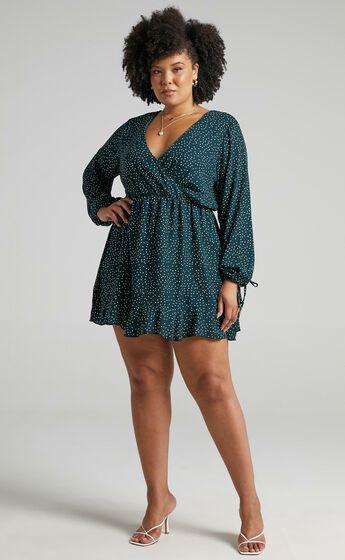 Keep It Smart Long Sleeve Mini Dress in Emerald Spot