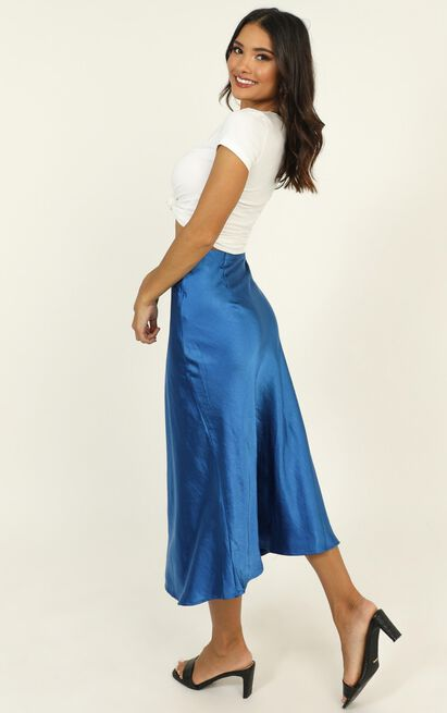 Somebody's Talking skirt in blue satin - 14 (XL), Blue, hi-res image number null