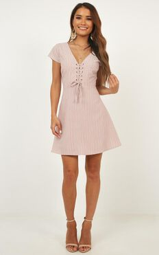 Secret Cure Dress In Blush Stripe