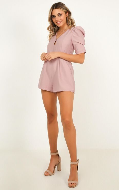 Sneaking Around Playsuit In Dusty Rose