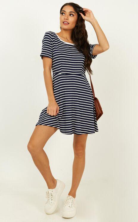 Real Time Fun Dress in Navy Stripe