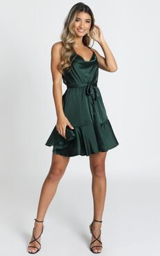 Like You Never Know Dress In Emerald Satin