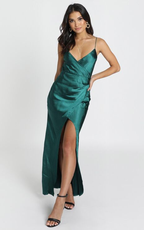 Hold Me Maxi Dress In Teal Satin