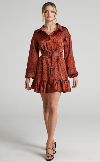 Cooma Belted Long Sleeve Collared Mini Dress in Copper Spot