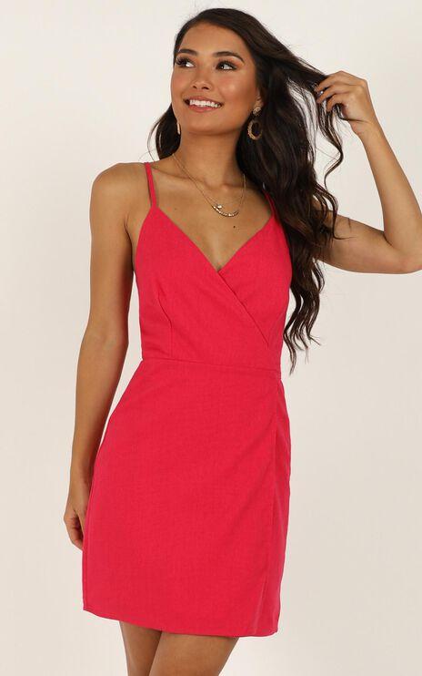 Whisper It Dress In Berry Linen Look