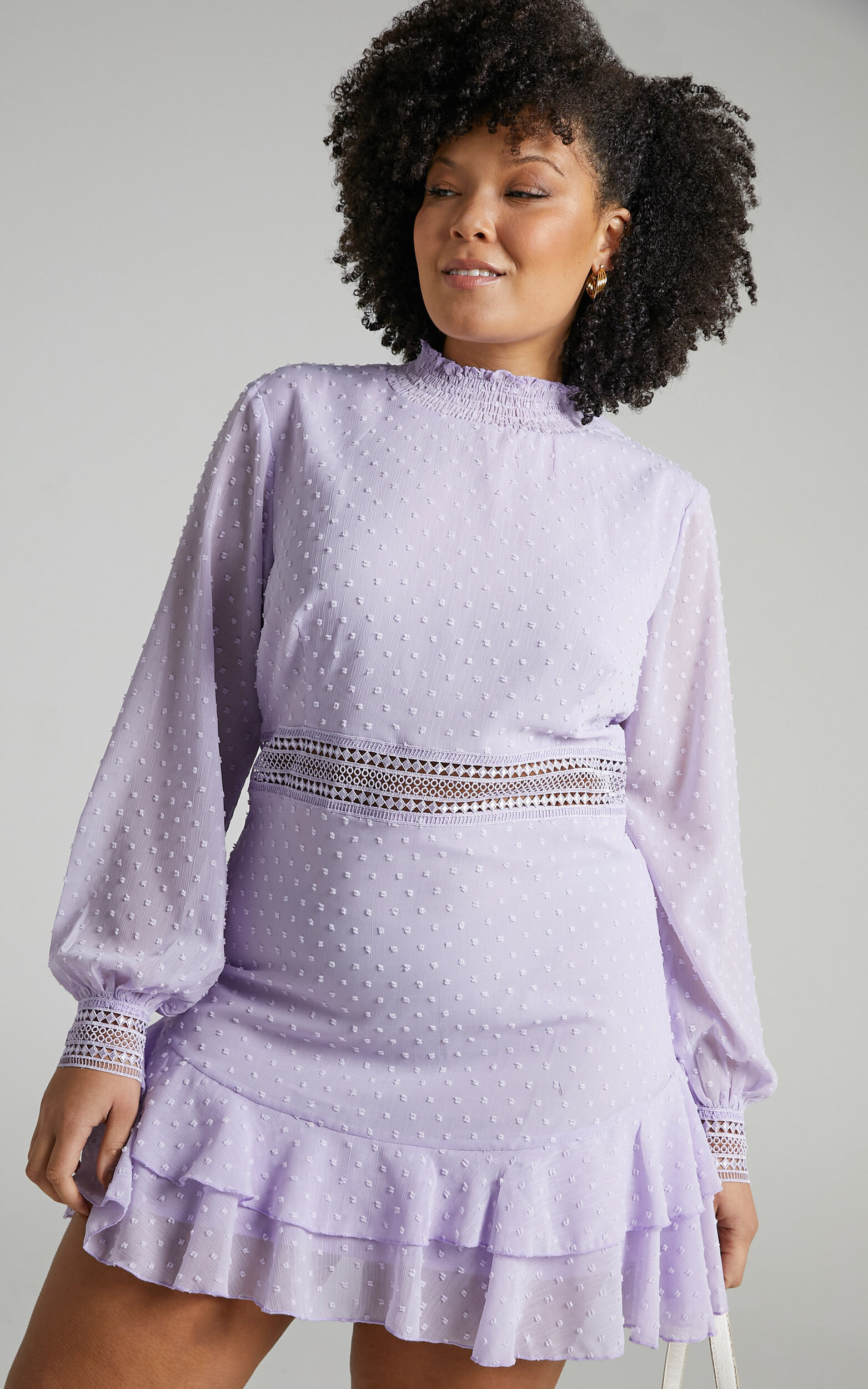 Are You Gonna Kiss Me Long Sleeve Mini Dress in Lilac - 04, PRP3, super-hi-res image number null
