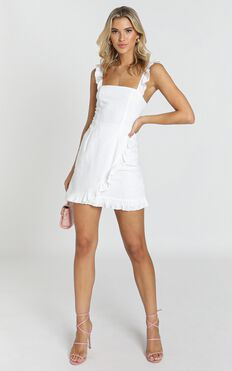 Call It Out Dress In White Linen Look
