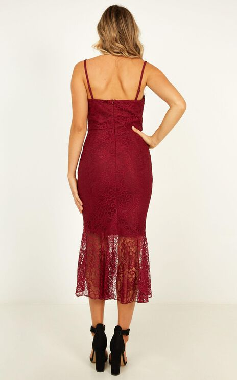 Crave Devotion Dress In Wine Lace