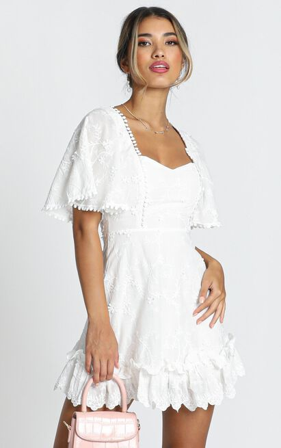 Fancy A Spritz Dress In White Embroidery - 18 (XXXL), White, hi-res image number null