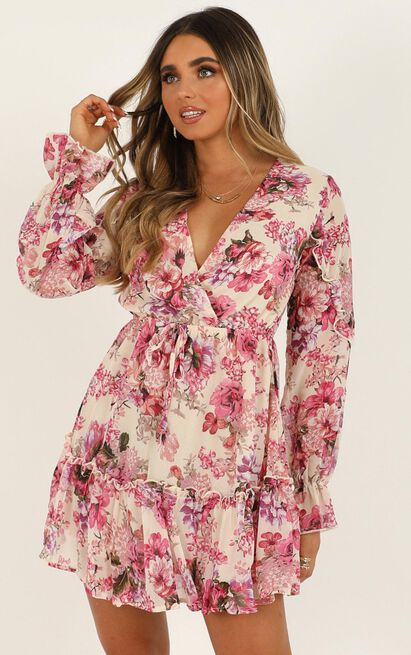 Freak of Nature dress in pink floral - 12 (L), Pink, hi-res image number null