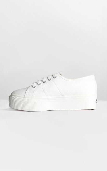 Superga - 2790 ACOTW Linea Up And Down Platform Sneakers in white canvas - 11, White, hi-res image number null