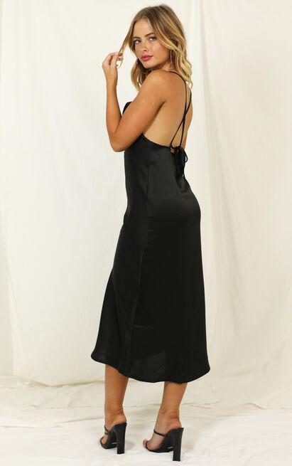 Cold Nights dress in black satin - 12 (L), Black, hi-res image number null