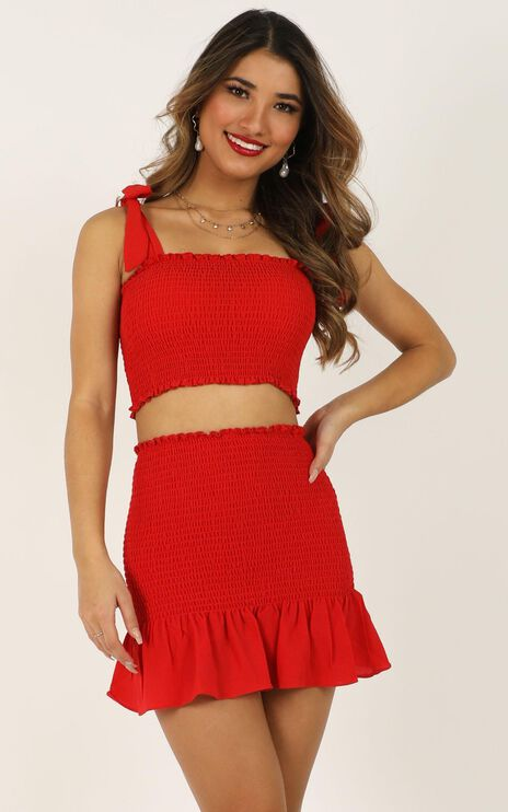 Bright Spot Two Piece Set in Red
