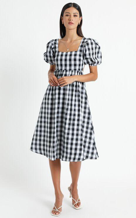 Bennie Dress in Black Gingham