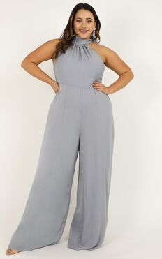 Leaves Falling Jumpsuit In Dove Blue Satin