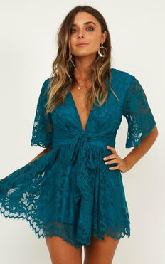 Break The Bar Playsuit in teal lace