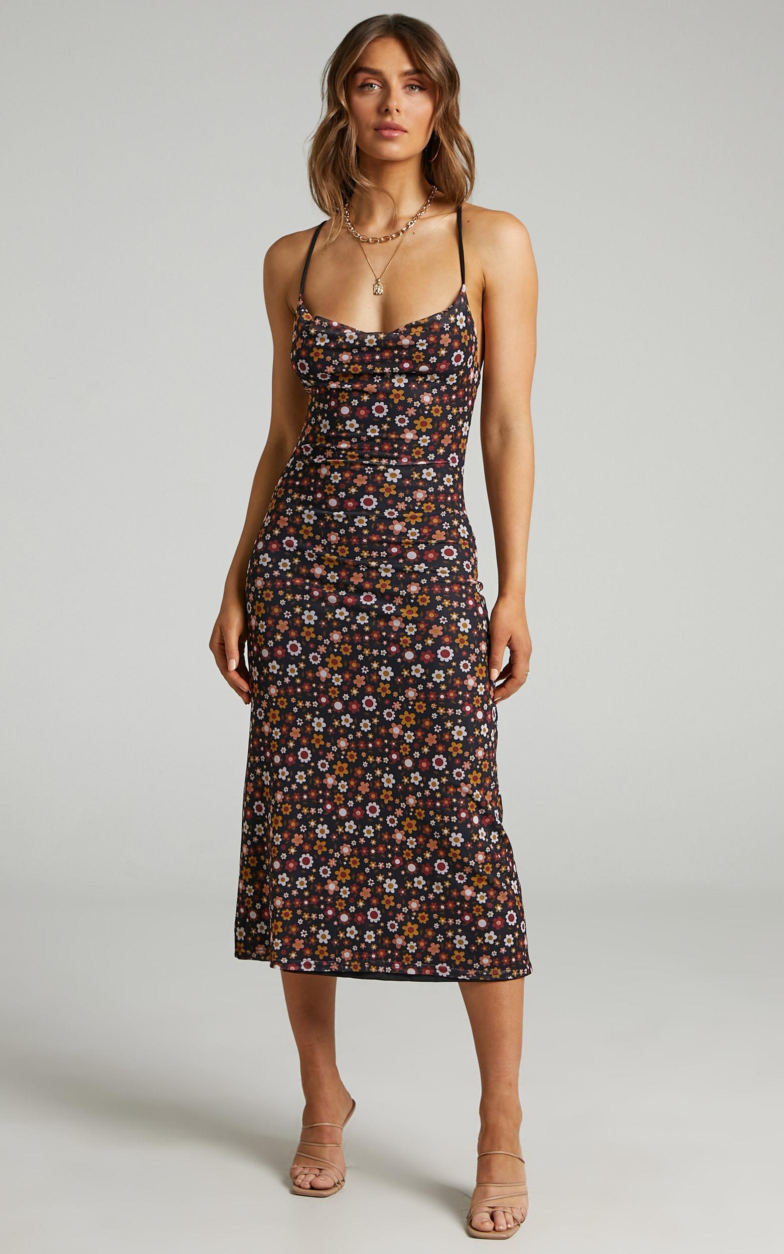 Sandrah Open Back Floral Midi Dress in Black Floral - 06, BLK1, super-hi-res image number null