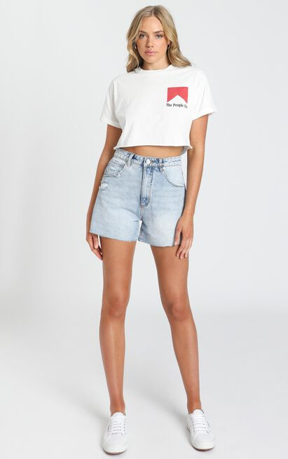 The People Vs - Smoker Crop Tee - White - 6 (XS), White, hi-res image number null
