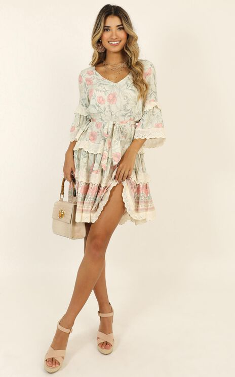 Full Control Dress In Sage Floral