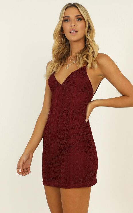 The Day I Fell In Love Dress In Wine Lace