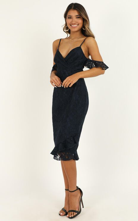 How Could You Forget About Me Dress in navy lace