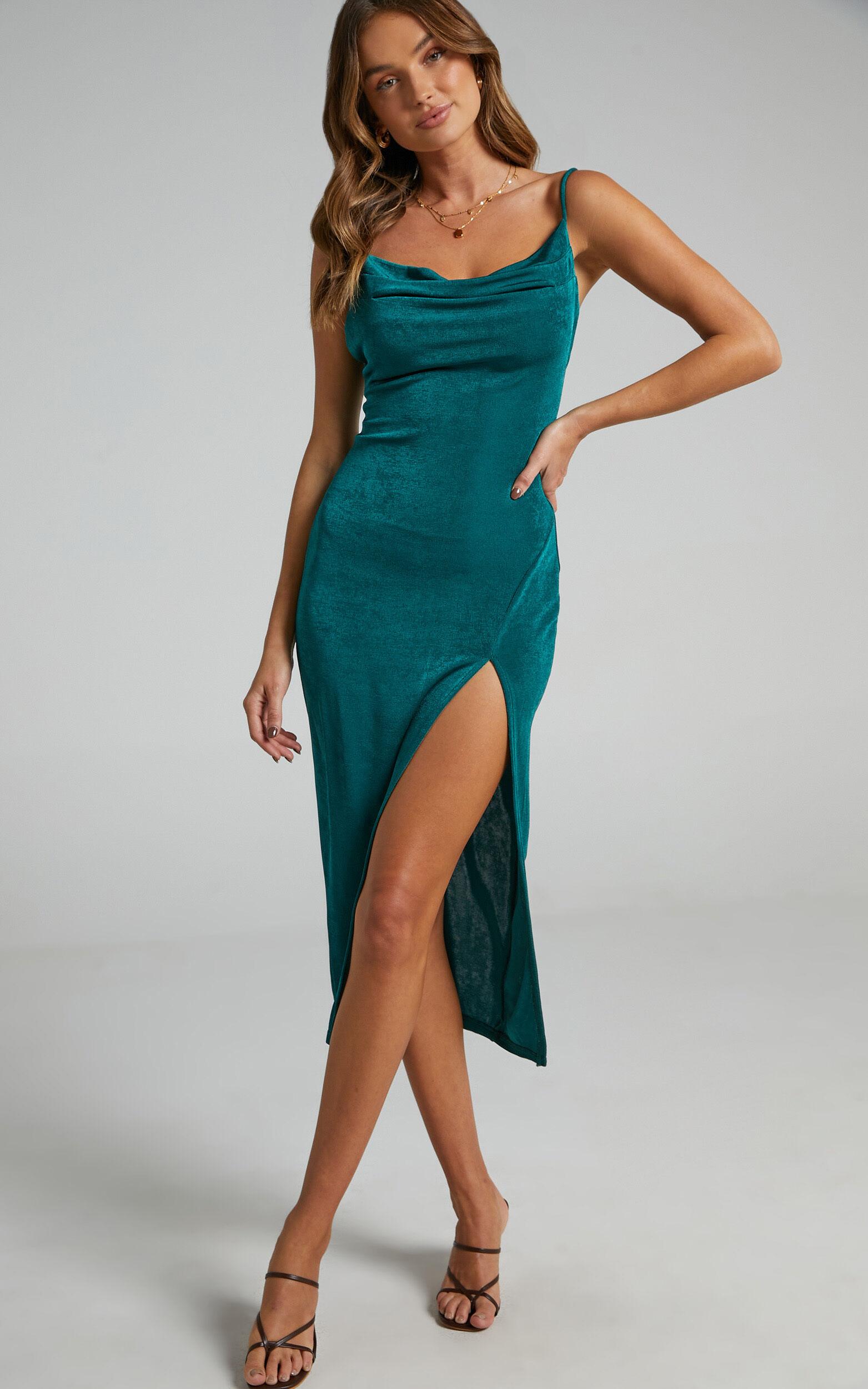 She.Is.Us - Slinky Slip Dress in Emerald - L, GRN2, super-hi-res image number null
