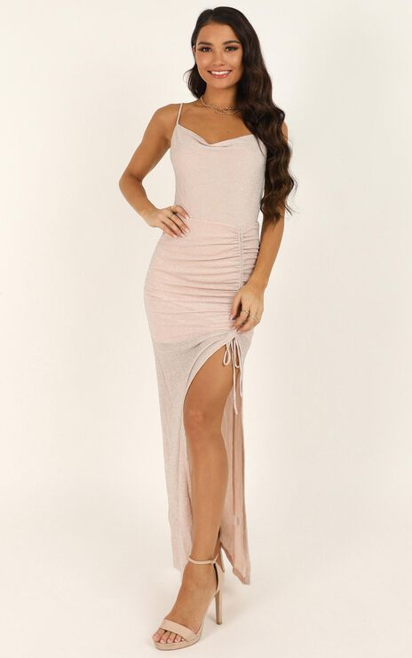 Hold It Out Maxi Dress In Blush Lurex