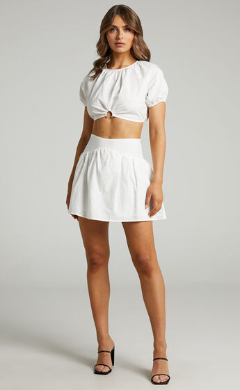 Georgina Short Sleeve Mini Two Piece Set with U Ring in White