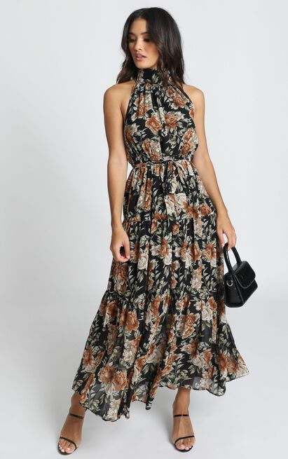 Cooling Power Maxi Dress in black floral - 14 (XL), Black, hi-res image number null
