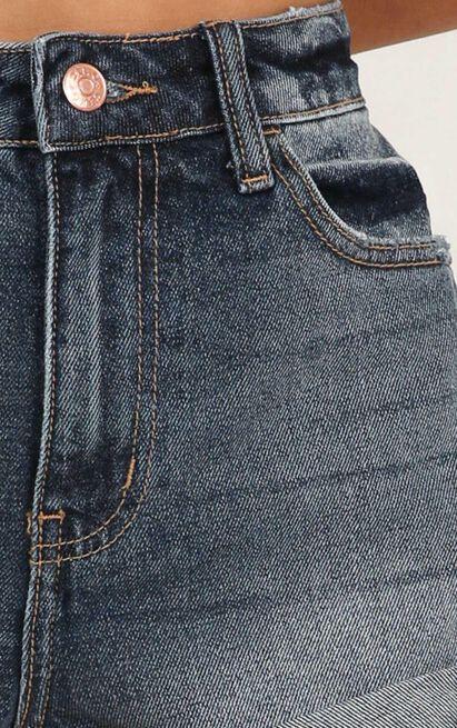 Scared Of Love denim shorts in dark wash - 12 (L), Blue, hi-res image number null