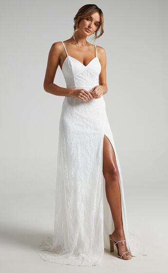 Love On Top Gown in White Lace