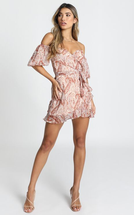 About Her Dress In Rust Paisley