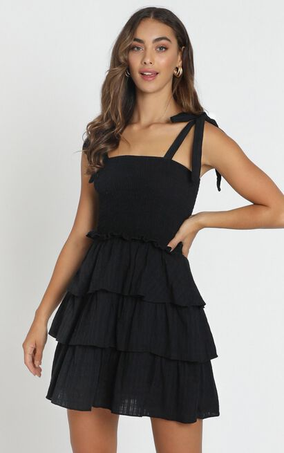Paislee Tied Dress in black - 6 (XS), Black, hi-res image number null