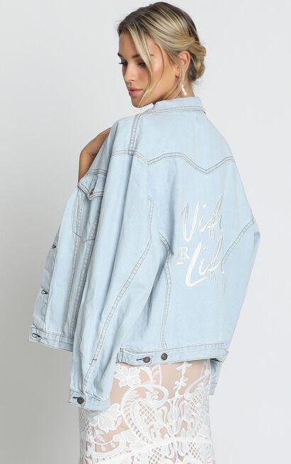 Wifey Denim Jacket in light wash - M/L, Blue, hi-res image number null
