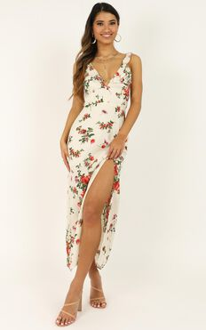 Unconditional Love Dress In White Floral
